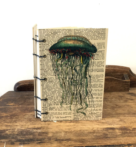 OOAK Coptic Bound Book Page Art Journal / Steampunk Jellyfish / Travel Journal / One-of-a-Kind Journal