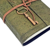 Olive Green Vegan Handbound Journal with Blank Pages and Key Charm /Cork / Leather Alternative / Ready to Ship / Vegan / Eco-Friendly Journal / Bridesmaid Gift