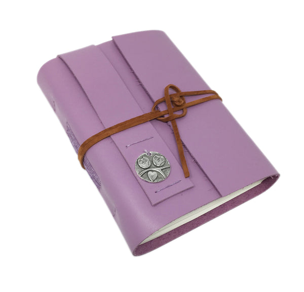 Light Purple Leather Journal with Blank Paper and Owl Charm. Travel Journal.