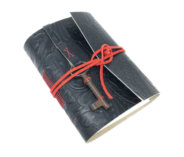 Black Embossed Leather Journal with Blank Paper and Skeleton Key.  Blank Journal.
