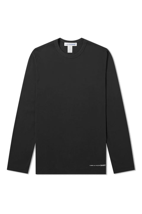 BASIC BLACK TEE - long sleeve - LOGO HEM
