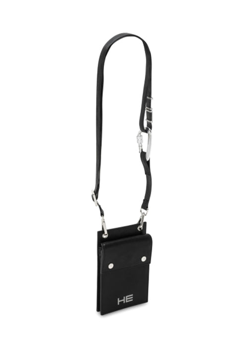 BLACK LEATHER PHONE SLING