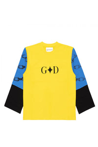 PRINTED T-SHIRT LS YELLOW