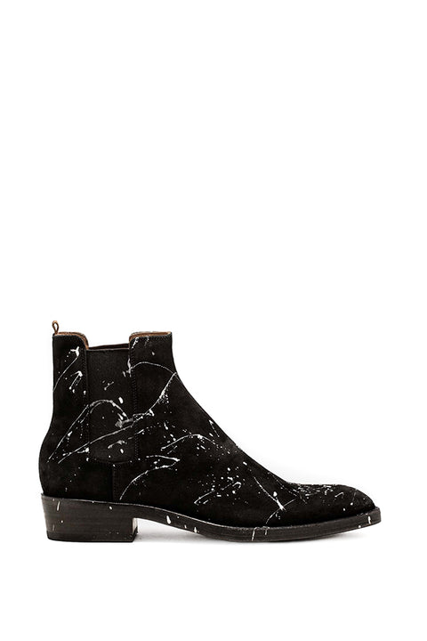 BLACK SUEDE QUENTIN BOOTS WITH PAINT SPLASHES _ MADE IN ITALY