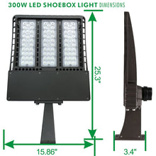 300W LED SHOEBOX OUTDOOR COMMERCIAL POLE LIGHT PARKING LOT FIXTURE 36000LM 5700K ARM MOUNTING