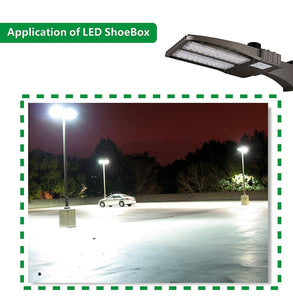 150W LED SHOEBOX OUTDOOR COMMERCIAL POLE LIGHT PARKING LOT FIXTURE 18700LM 5700K ARM MOUNTING