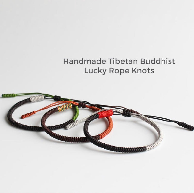 Tibetan Buddhist Handbraided Knots Lucky Rope Bracelet Monks Blessed Jewelry One Heart To The Buddha-Traditional & Zen & Dharma - mymatmyyoga