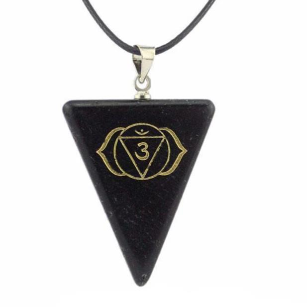 NATURAL OBSIDIAN CHAKRA TRIANGLE PENDANT NECKLACE [7 VARIANTS] - mymatmyyoga