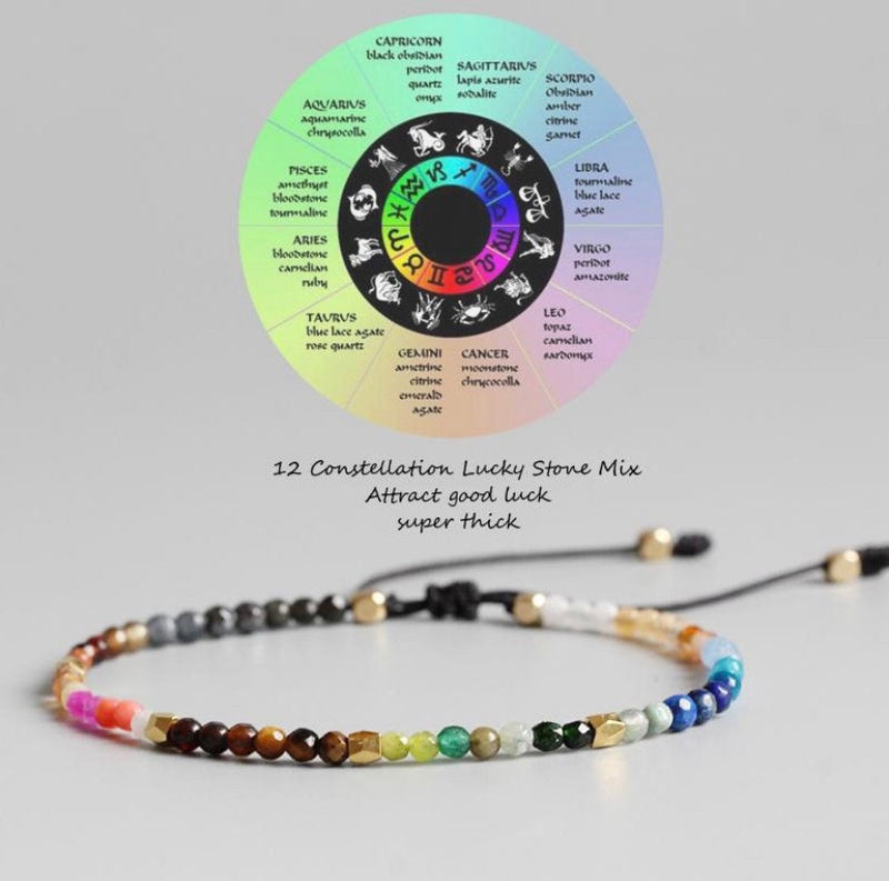 12 Constellation Tibetan Adjustable Bracelet - mymatmyyoga