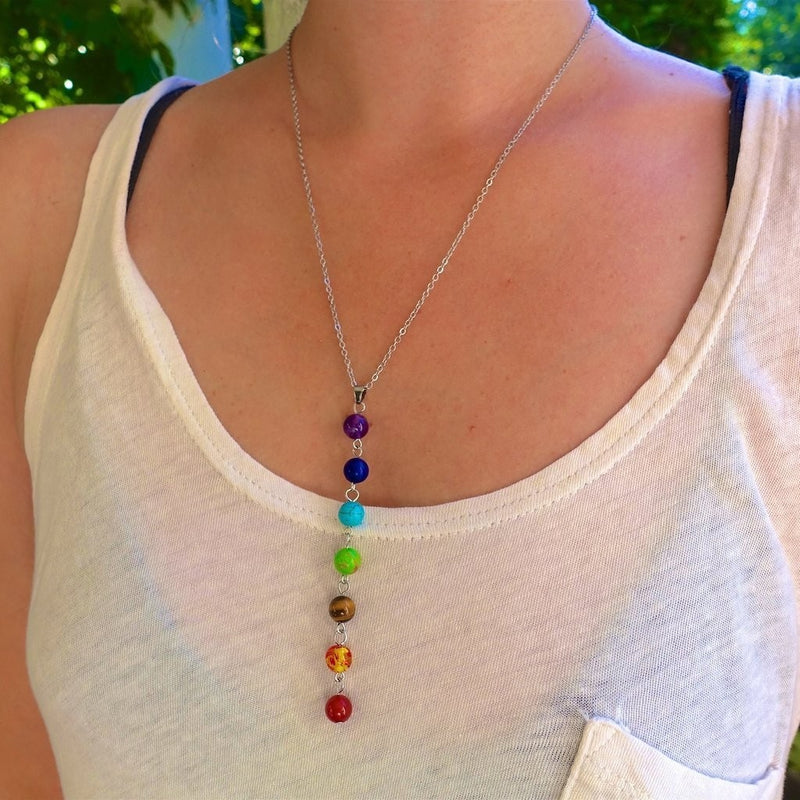 BUY ONE GET ONE FREE 7 Chakra Stones Healing Point Chakra Necklace - mymatmyyoga