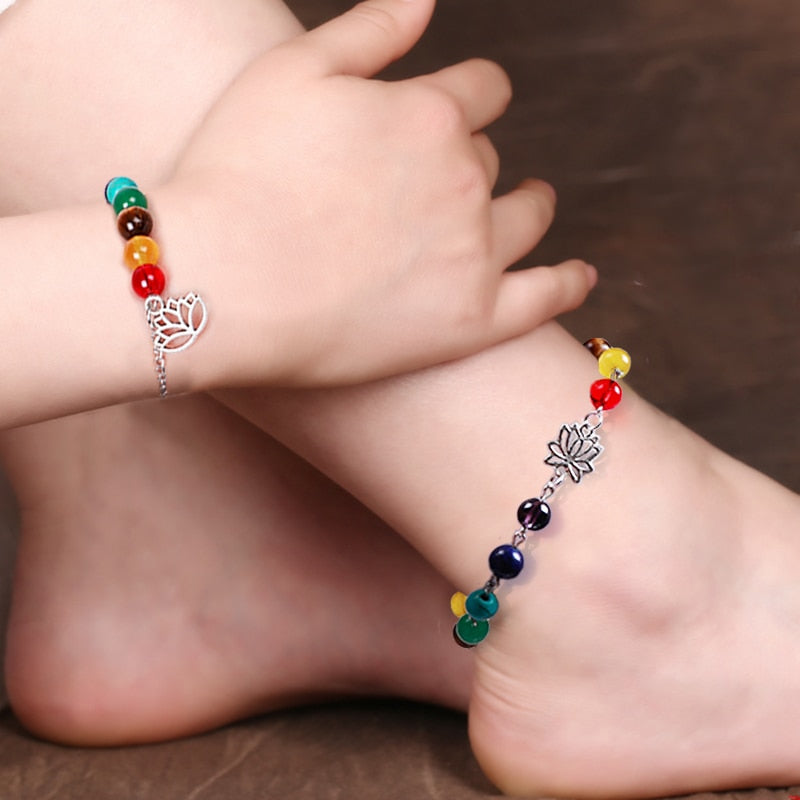Natural Stone Chakra Bracelet and Anklet [Set of 2] - mymatmyyoga