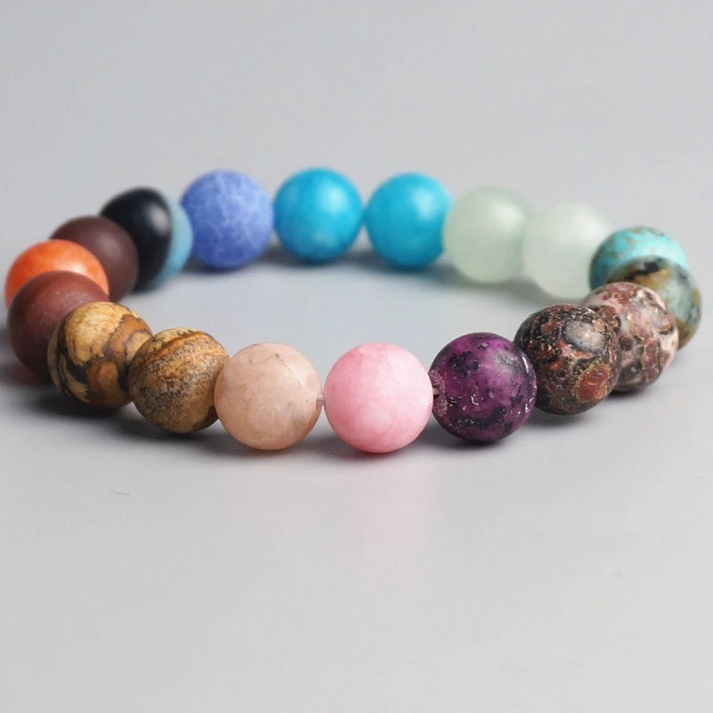Natural Frosted Bead 10mm Chakra Healing Bracelet - mymatmyyoga