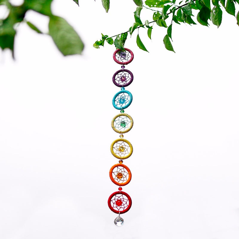 Chakra Dream Catcher with 20mm Crystal Chandelier Ball Prisms - mymatmyyoga