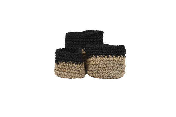 Set of 3 ABARI jute natural-black basket