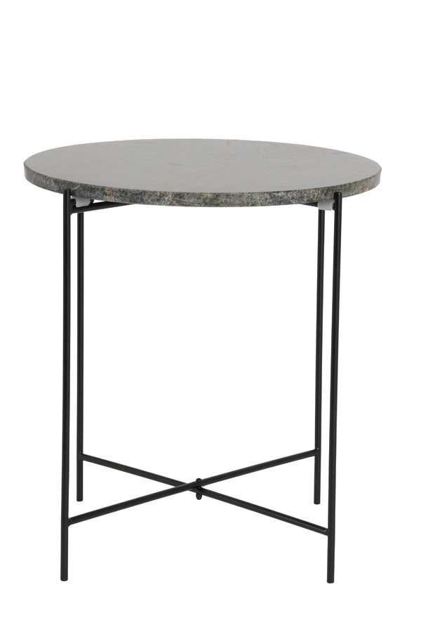 QUILLON matt black-marble white-grey side table