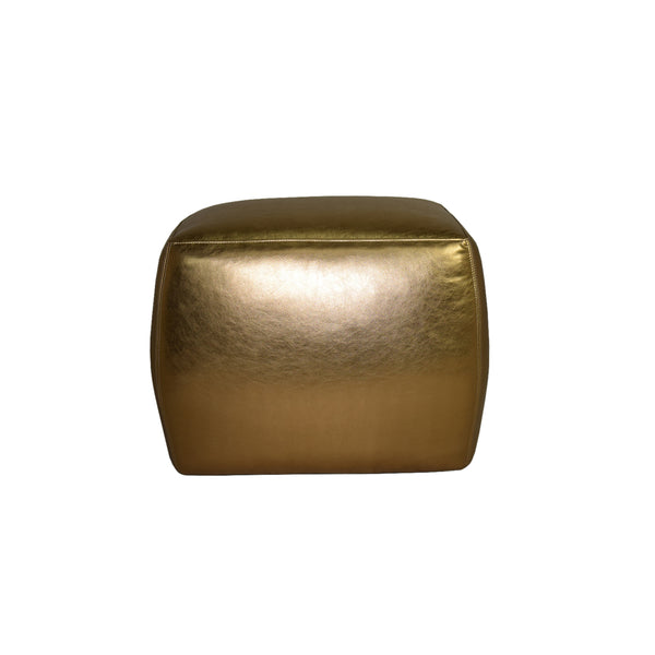 Metallic Leather Pouf