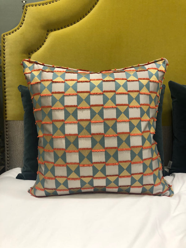 Silk Fringed Teal/Orange Cushion