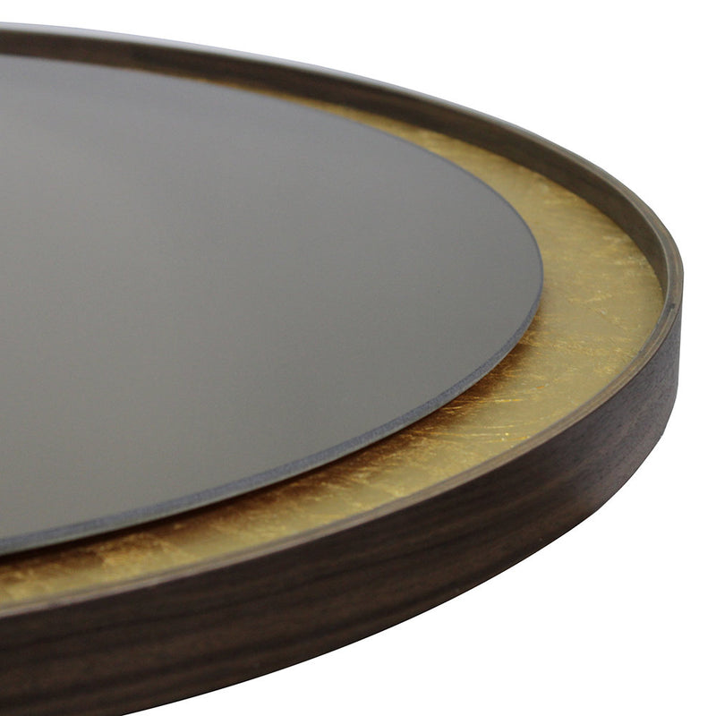 Gold Leaf Bronze Round Wall Mirror