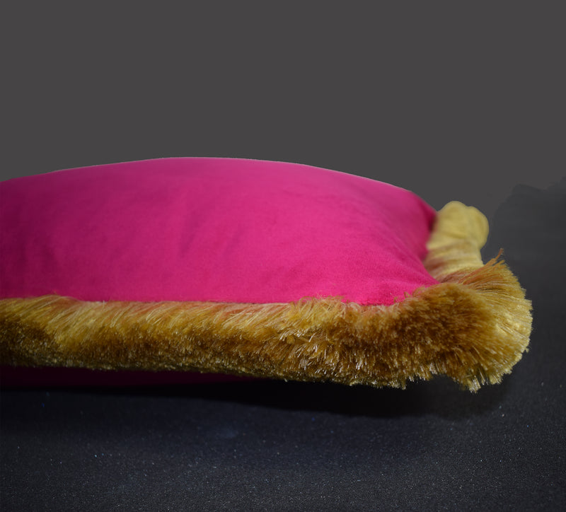 Velvet Tasseled Magenta Cushion