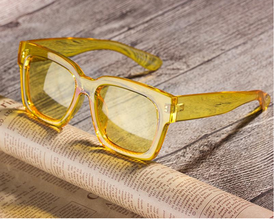 Sunglasses Women Fashion Oversized Square Frame Colorful Lens - Go Sunglasses