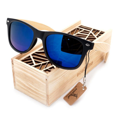 High Quality Sunglasses With Bamboo Legs Mirrored Style Travel Eyewear Wood Box - Go Sunglasses
