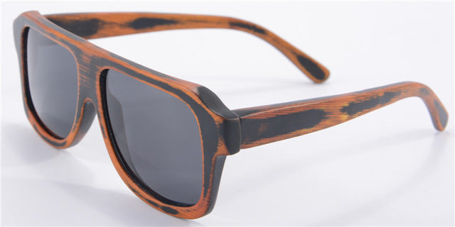 Vintage Carbonized Bamboo Wood Sunglasses Men Brand Designer