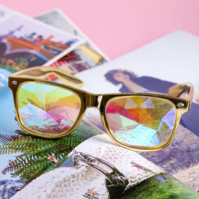 Sunglasses Diffracted mirror round Lens sunglasses women - Go Sunglasses