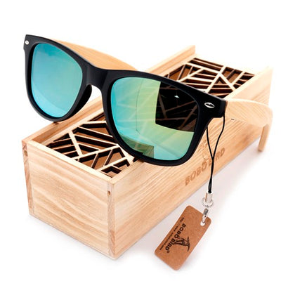BOBO BIRD Simple Style Bamboo Legs Polarized Lens Sun Glasses Women Men with Wood Gift Boxes As Best Gift For Friends Women Mens - Go Sunglasses