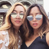 Fashion Twin-Beams Classic Women Metal Frame Mirror Sunglasses - Go Sunglasses