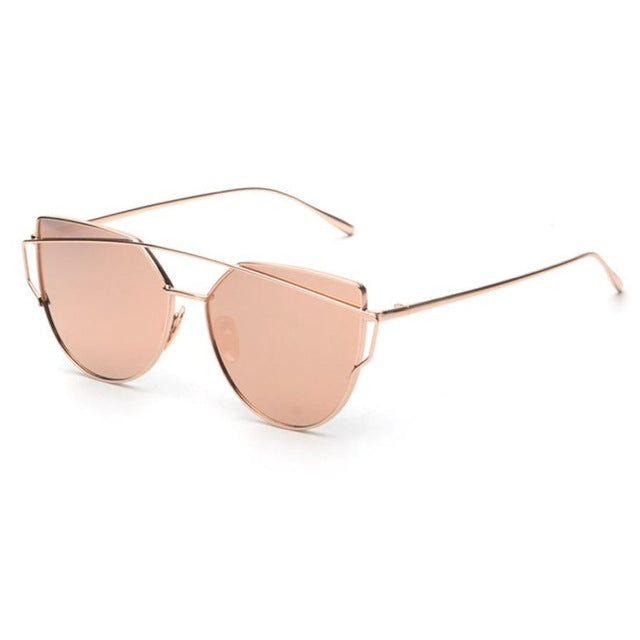 Fashion Twin-Beams Classic Women Metal Frame Mirror Sunglasses
