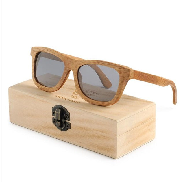 Wooden Bamboo  Handmade Polarized Sunglasses in Wood Box