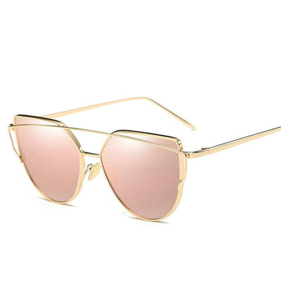Vintage Brand Design Rose Gold Mirror Cat Eye Sunglasses For Women - Go Sunglasses