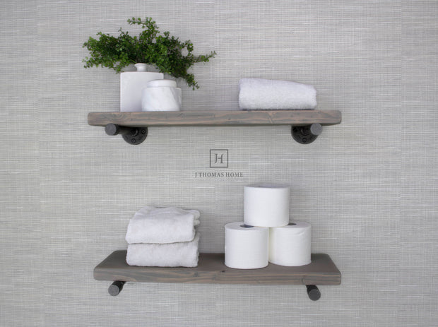GRAY INDUSTRIAL PIPE FLOATING SHELF - SET OF 2 | Shelves | J Thomas Home