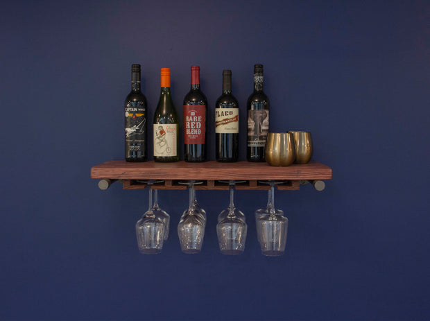 Industrial Floating Shelf with Stemware Rack | Shelves | J Thomas Home