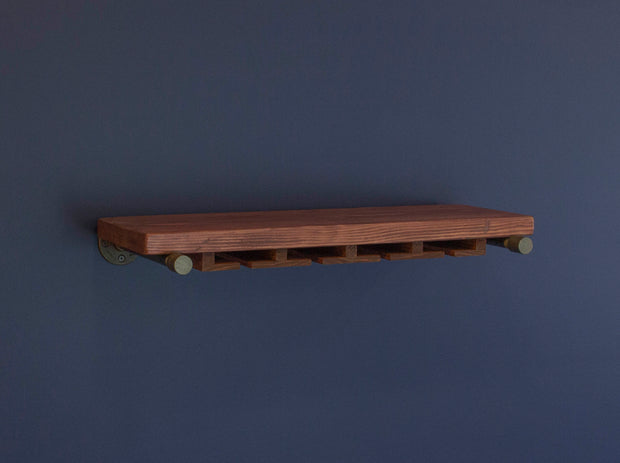Industrial Floating Shelf with Stemware Rack - J Thomas Home