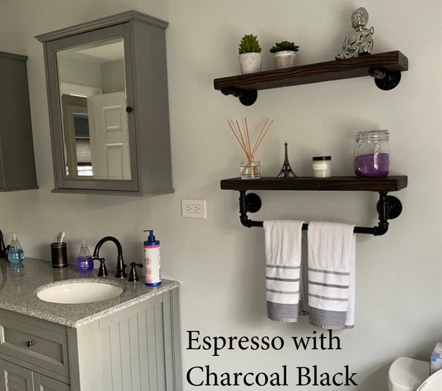 INDUSTRIAL PIPE SHELF WITH TOWEL BAR SET - J Thomas Home