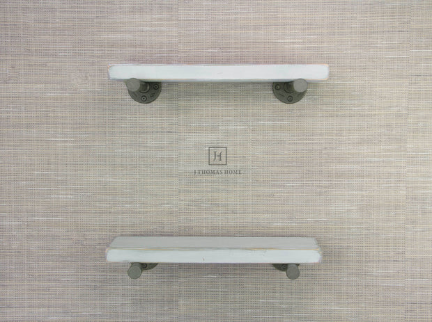 WHITE INDUSTRIAL PIPE FLOATING SHELF - SET OF 2 | Shelves | J Thomas Home