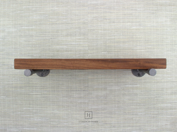 WALNUT INDUSTRIAL PIPE FLOATING SHELF | Shelves | J Thomas Home