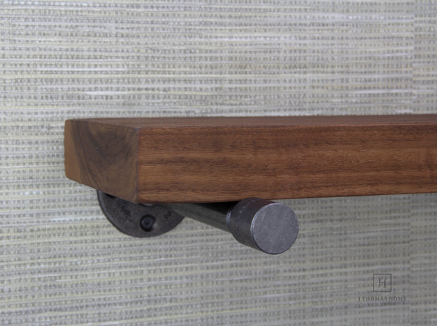 WALNUT INDUSTRIAL PIPE FLOATING SHELF - J Thomas Home