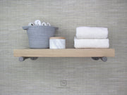 WHITE OAK INDUSTRIAL PIPE FLOATING SHELF | Shelves | J Thomas Home