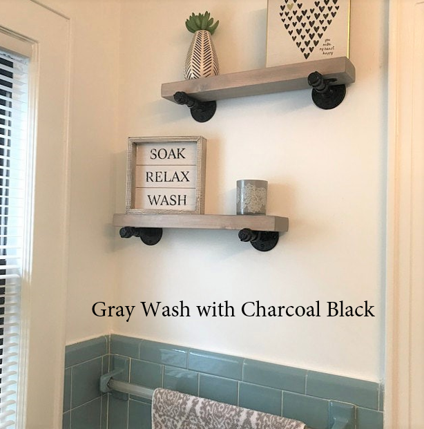 GRAY INDUSTRIAL PIPE FLOATING SHELF - J Thomas Home