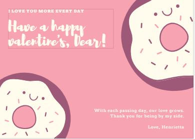 photo about Donut Valentine Printable called Printable Valentines Working day Card - Donut