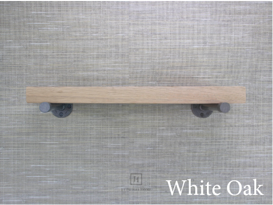 WHITE OAK INDUSTRIAL PIPE FLOATING SHELF