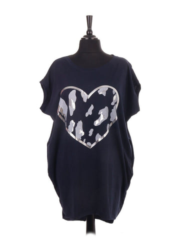 Navy Animal Heart Dip Hem Top