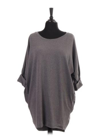 Grey Dip Hem Tunic Top