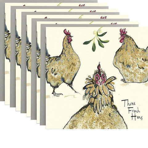 Three French Hens - Pack of 5 Cards