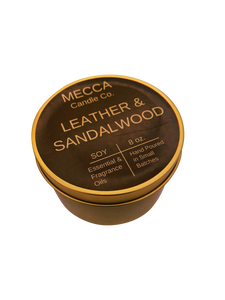 Leather & Sandalwood 8oz Gold Tin