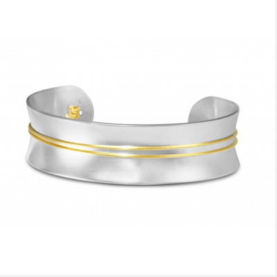 Contemporary Silver Adjustable Cuff with Gold Wire