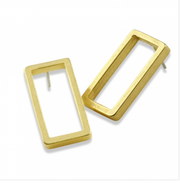 Contemporary Geometric Rectangular Stud Earrings