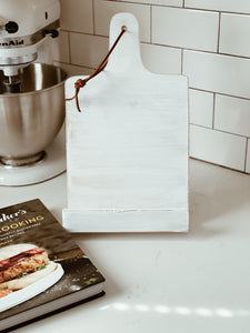 Rustic Wooden Cookbook/Tablet Holder in White